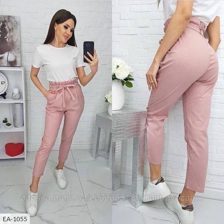 Женские модные брюки с поясом в актуальных