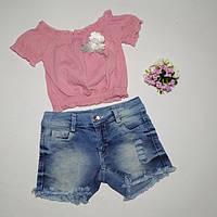 Летний костюм для девочки шорты и кофточка. Размеры от 2 до 5 лет