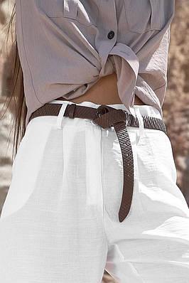 Жіночий шкіряний коричневий ремінь