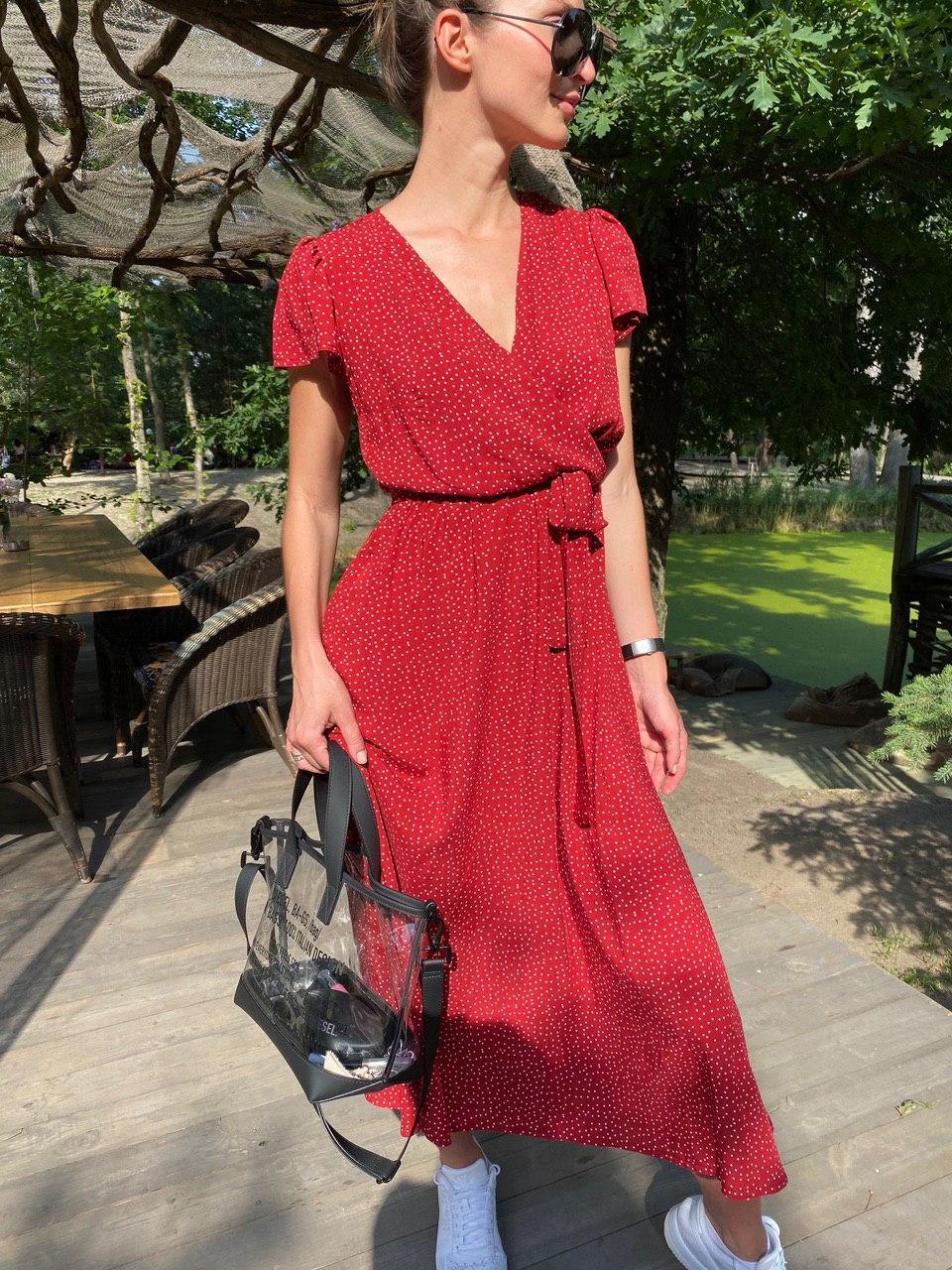 Платье легкое летнее миди в горошек DM2129