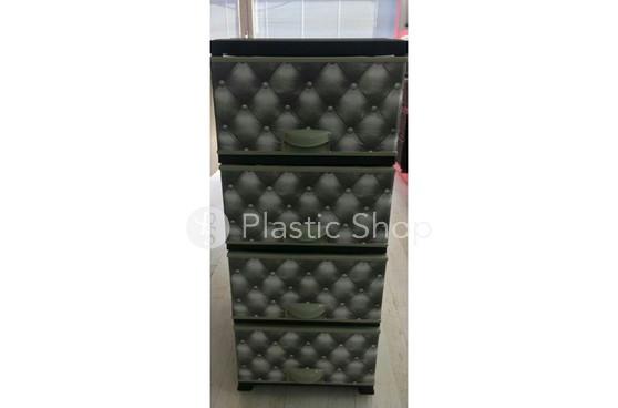 Комод пластиковый Elif  на 4 секции Турция с рисунком Leather серый