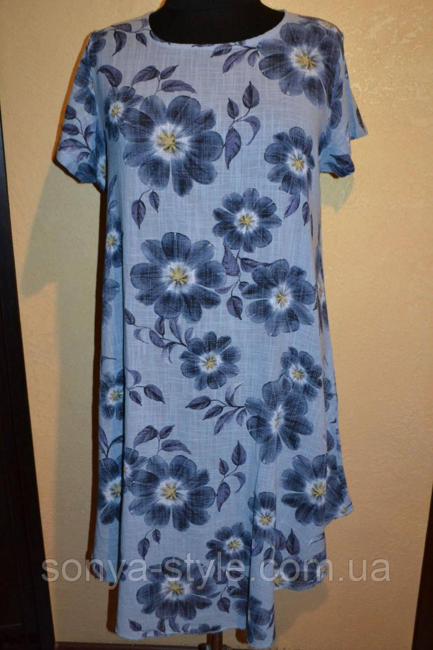 Женское платье  с цветами     больших размеров