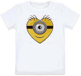 Детская футболка Fat Cat Миньон - Сердце (белая)