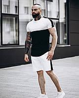 Летний мужской комплект Шорты + Футболка черно-белый с лампасами | спортивный костюм летний, фото 1