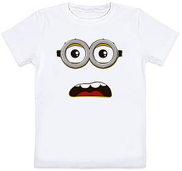 Детская футболка Fat Cat Миньон - Удивлённое лицо (белая)