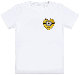 Детская футболка Fat Cat Миньон - Маленькое сердце (белая)