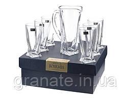 Набор для напитков Quadro Кувшин +стаканы 350 мл - 6 шт Bohemia