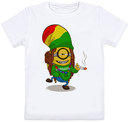 Детская футболка Fat Cat Миньон - Растаман (белая)