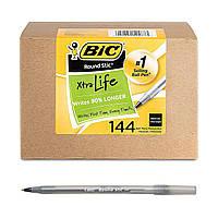 Ручки шариковые черные BIC Round Stic Xtra Life 1.0 мм набор 144 штук для школы и офиса