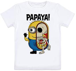 Детская футболка Fat Cat Миньон - Papaya! (белая)