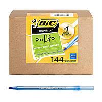 Ручки шариковые синие BIC Round Stic Xtra Life 1.0 мм набор 144 штук для школы и офиса