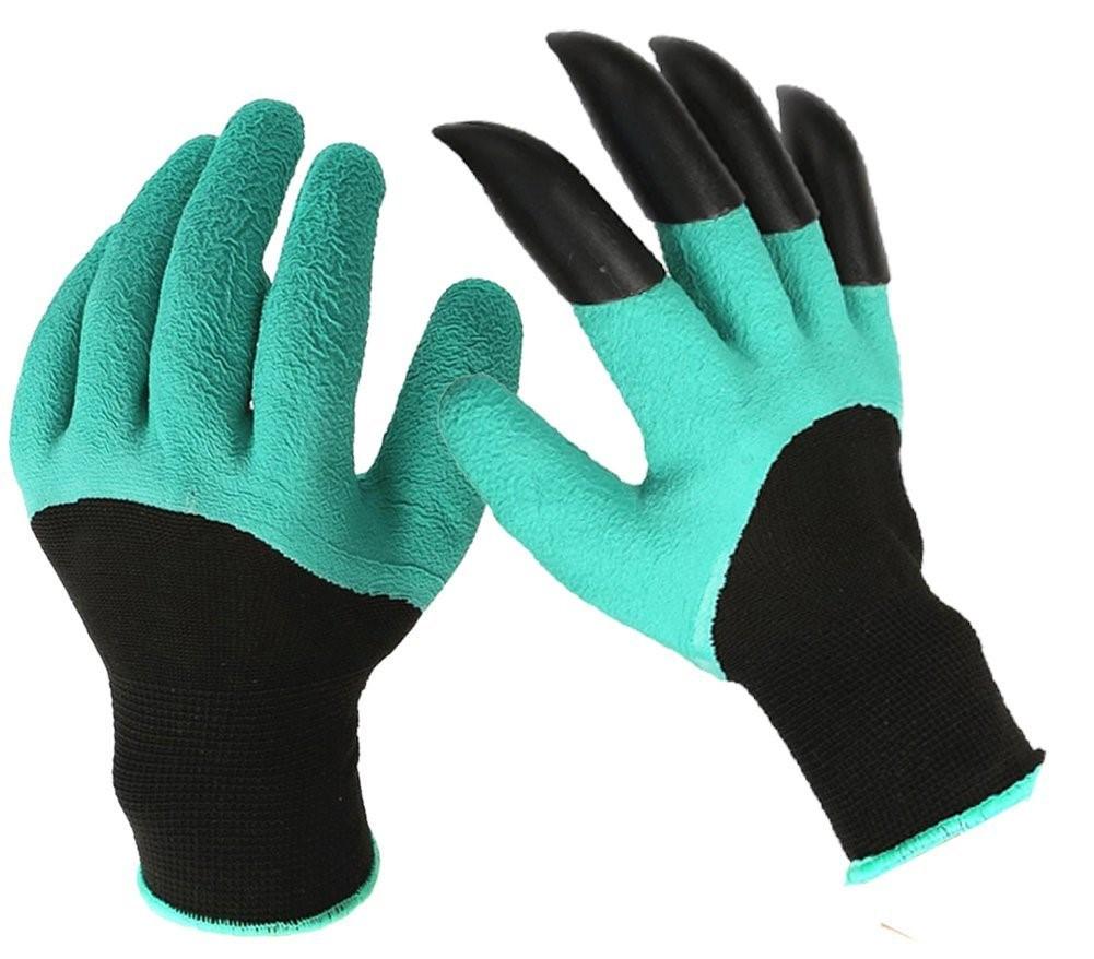 Садовые прорезиновые перчатки с когтями для защиты рук GARDEN GENIE GLOVES