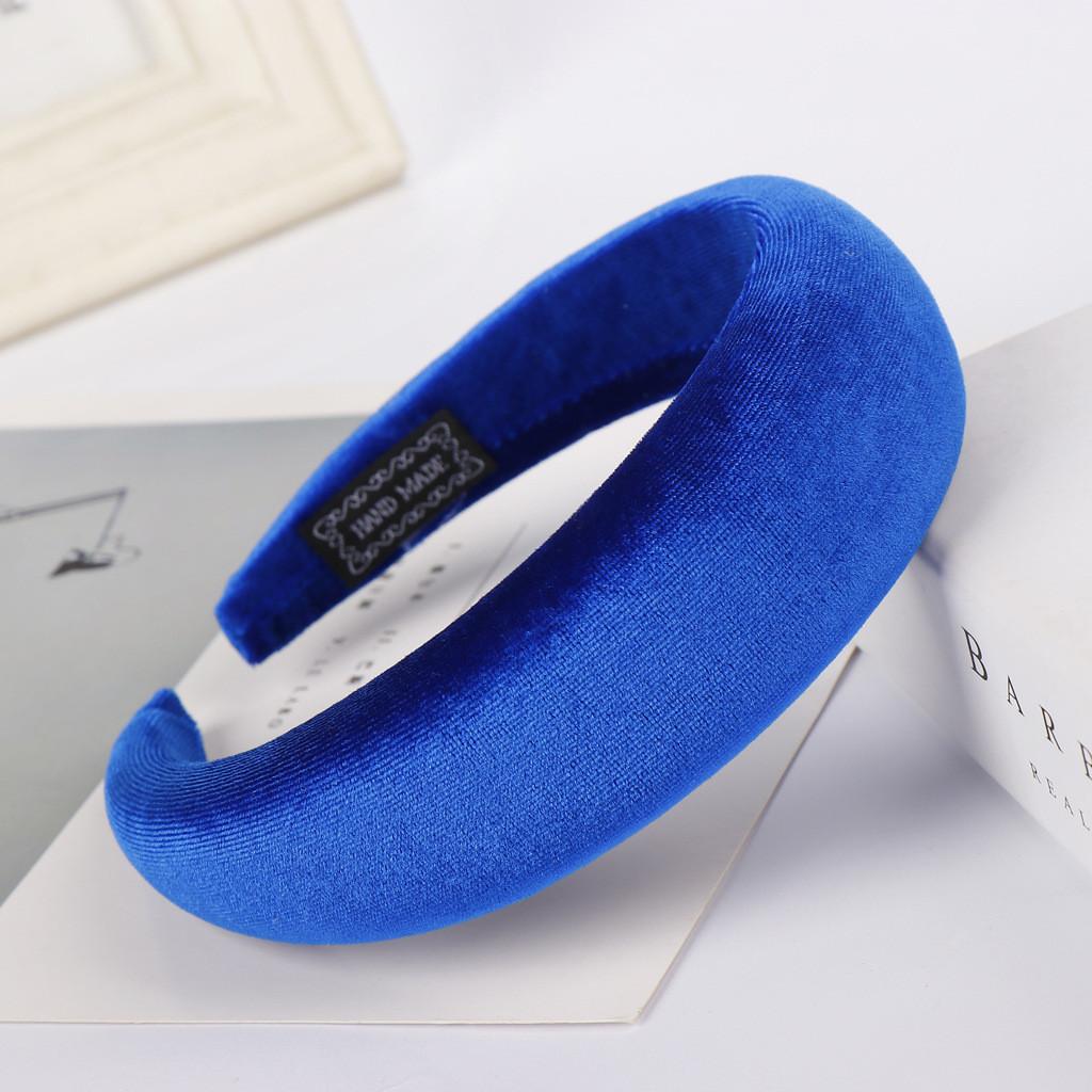 Велюровый обруч широкий оптом, синий