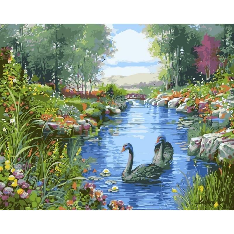 Картина по номерам VP127 Черные лебеди. Худ. Андрес Орпинас, 40x50 см., Babylon