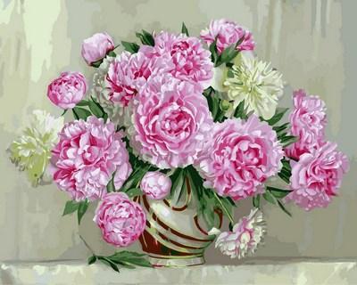 Картина по номерам на холсте с подрамником Розовые пионы