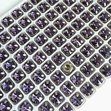 Ріволі LUX 6 мм в оправі (срібло). Фіолетовий. 1 шт.