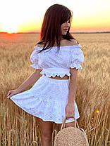 Літній костюм з натуральних тканин короткий топ і міні спідниця-шорти, фото 3