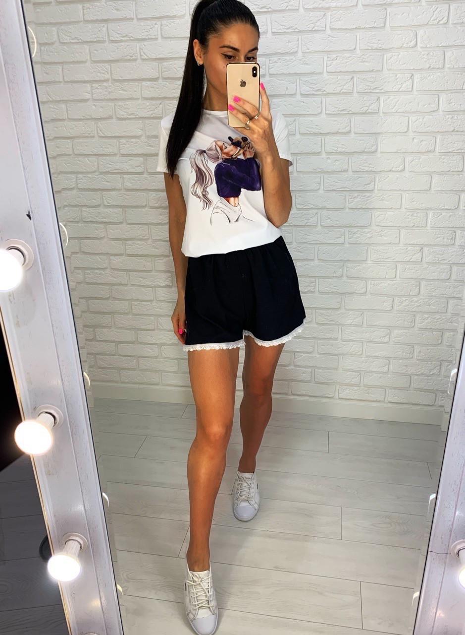 Женский летний костюм футболка с рисунком и свободные шорты
