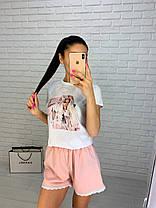 Женский летний костюм футболка с рисунком и свободные шорты, фото 2