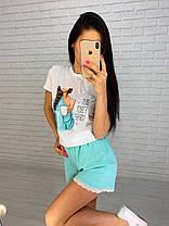 Женский летний костюм футболка с рисунком и свободные шорты, фото 3