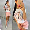 Женский летний костюм футболка с рисунком и свободные шорты, фото 4