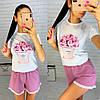 Женский летний костюм футболка с рисунком и свободные шорты, фото 5