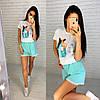 Женский летний костюм футболка с рисунком и свободные шорты, фото 6