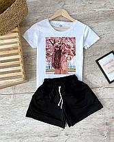 Жіночий літній костюм футболка з малюнком і шорти на гумці, фото 2