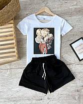 Женский летний костюм футболка с рисунком и шорты на резинке, фото 2