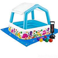 Детский надувной бассейн Intex  «Аквариум» со съемным навесом, 157 х 157 х122 см, с шариками, насос, подстилка