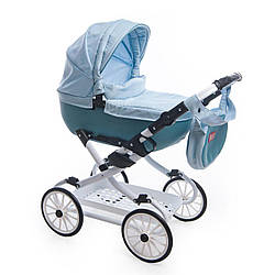 Детская коляска-люлька для куклы Broco Mini Avenu 2020 10, голубая