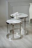Комплект кофейных столиков CI-1 белый мрамор стекло Vetro Mebel, фото 5