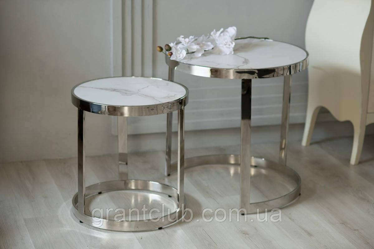 Комплект кофейных столиков CI-1 белый мрамор стекло Vetro Mebel