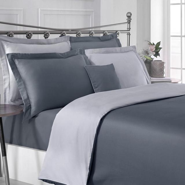 Постельный комплект семья серый Hermanus Home SATIN двухсторонний