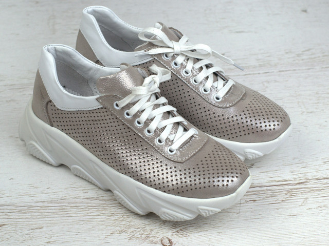 Кроссовки кожаные летние бежевые перфорация женская обувь больших размеров Rosso Avangard Mozza CreamPerf