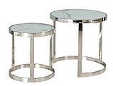 Комплект кофейных столиков CI-1 белый мрамор стекло Vetro Mebel, фото 10