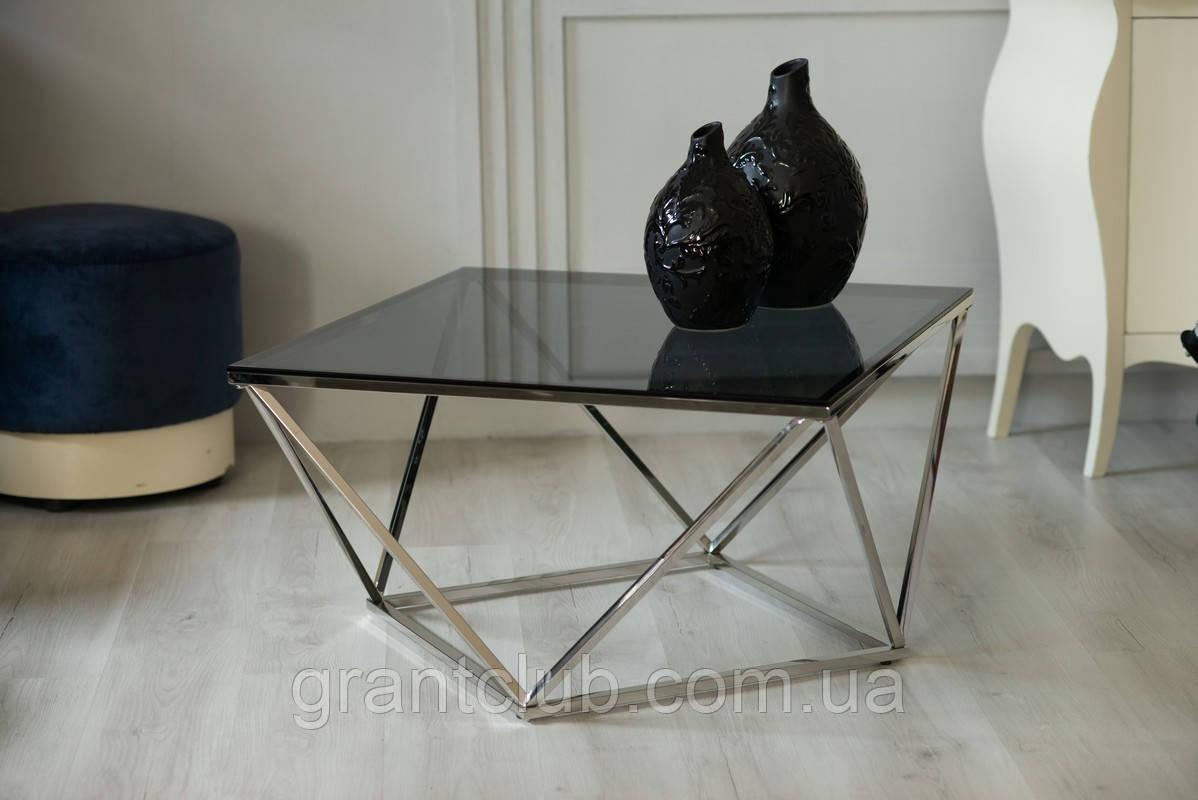Журнальный стол CP-1 глянцевое тонированное стекло 80*80*45,5 Vetro Mebel