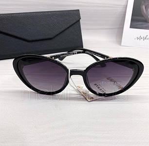 Солнцезащитные женские очки лисички Burberry реплика Черные