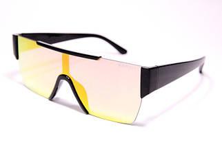 Солнцезащитные женские очки маска Burberry 8087 C4 реплика Черные с желтой линзой