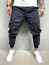 Спортивные брюки  - Мужские спортивные штаны (черные) коттон