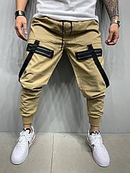 Спортивные брюки  - Мужские спортивные штаны (бежевые) коттон