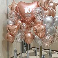 Связки из шаров хром плюс прозрачные с конфетти, сердце 90 см с индивидуальной надписью