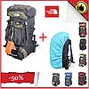 Туристический рюкзак The North Face на 60 литров красный + чехол дощовик, фото 2