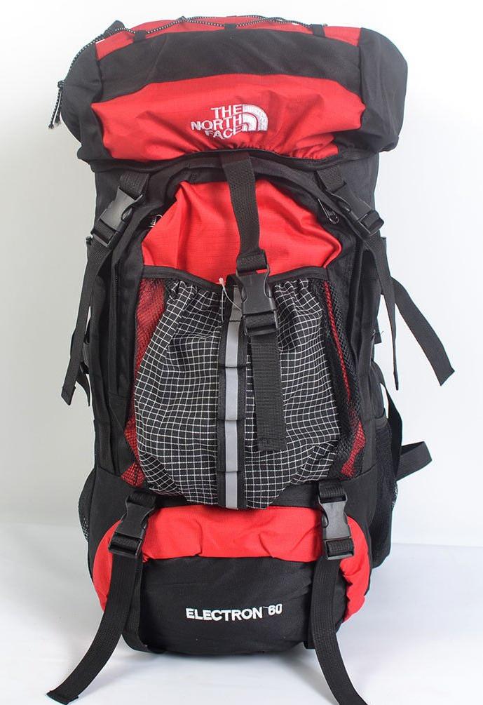 Туристический рюкзак The North Face на 60 литров красный + чехол дощовик
