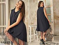 Свободное черное платье с сеткой на юбке