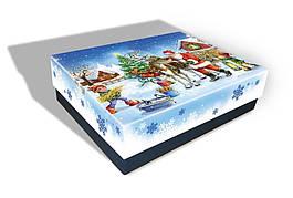 Картонная упаковка новогодняя Санта с оленями, на вес до 1кг, от 1 ящика