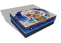 Картонная упаковка новогодняя Санта с санями, на вес до 1кг, от 1 ящика