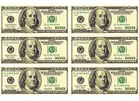 "Вафельная картинка ""Доллары США-2"" А4, 20х30 см"