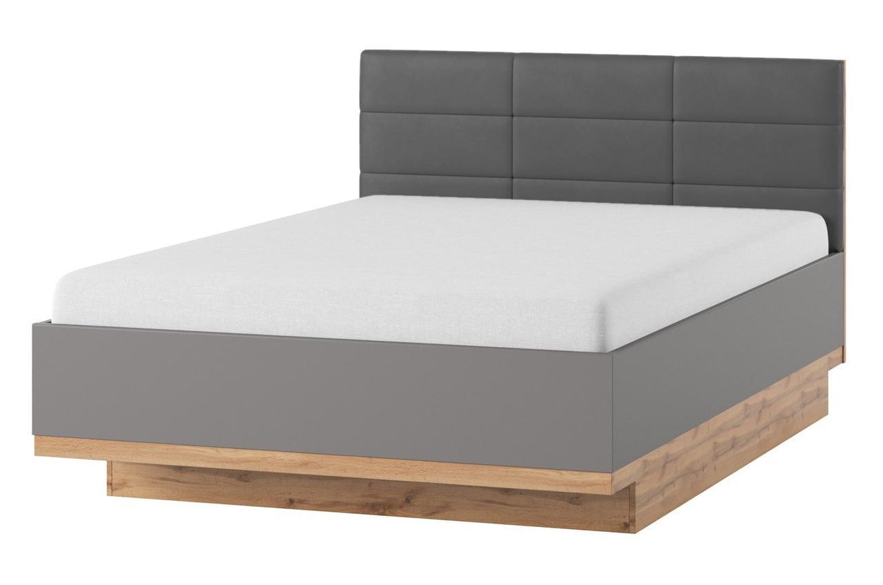 Кровать LIVORNO 66 160x200 Szynaka дуб wotan/серый базальт/элементы радиального среза дерева