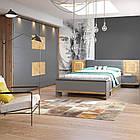 Кровать LIVORNO 66 160x200 Szynaka дуб wotan/серый базальт/элементы радиального среза дерева, фото 4